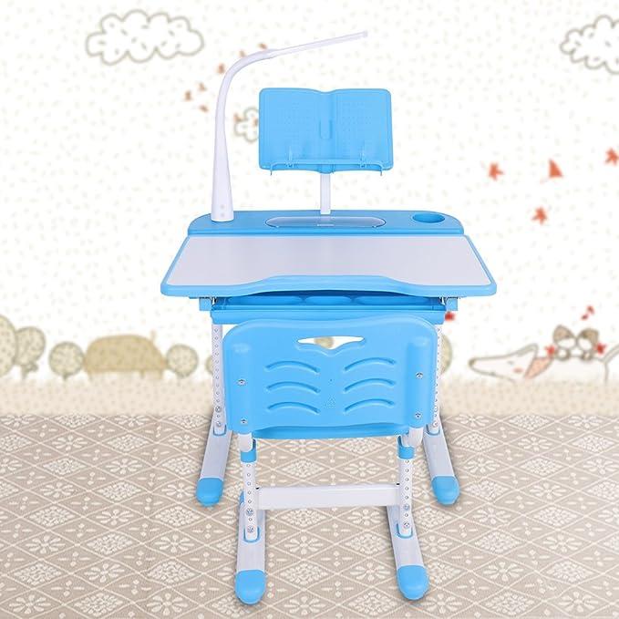 EBTOOLS Scrivania Tavolo Sedia Ergonomica Blue Bambini Basculante Scrittoio Set Tavolo da Lavoro Ribaltabile,con Sedia Regolabile in Altezza e Inclinazione,Regolabile da 0 a 45 /°,Lampada LED