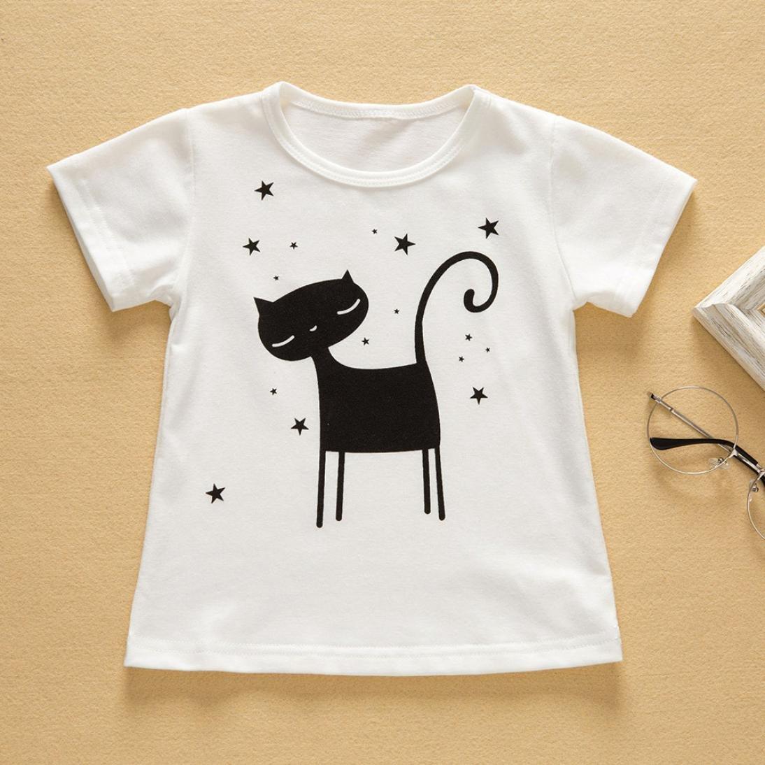 MALLOOM 2pcs Toddler Baby Girls Clothes Set Cartoon Cat Tops T-Shirt+Skirt Summer Outfits