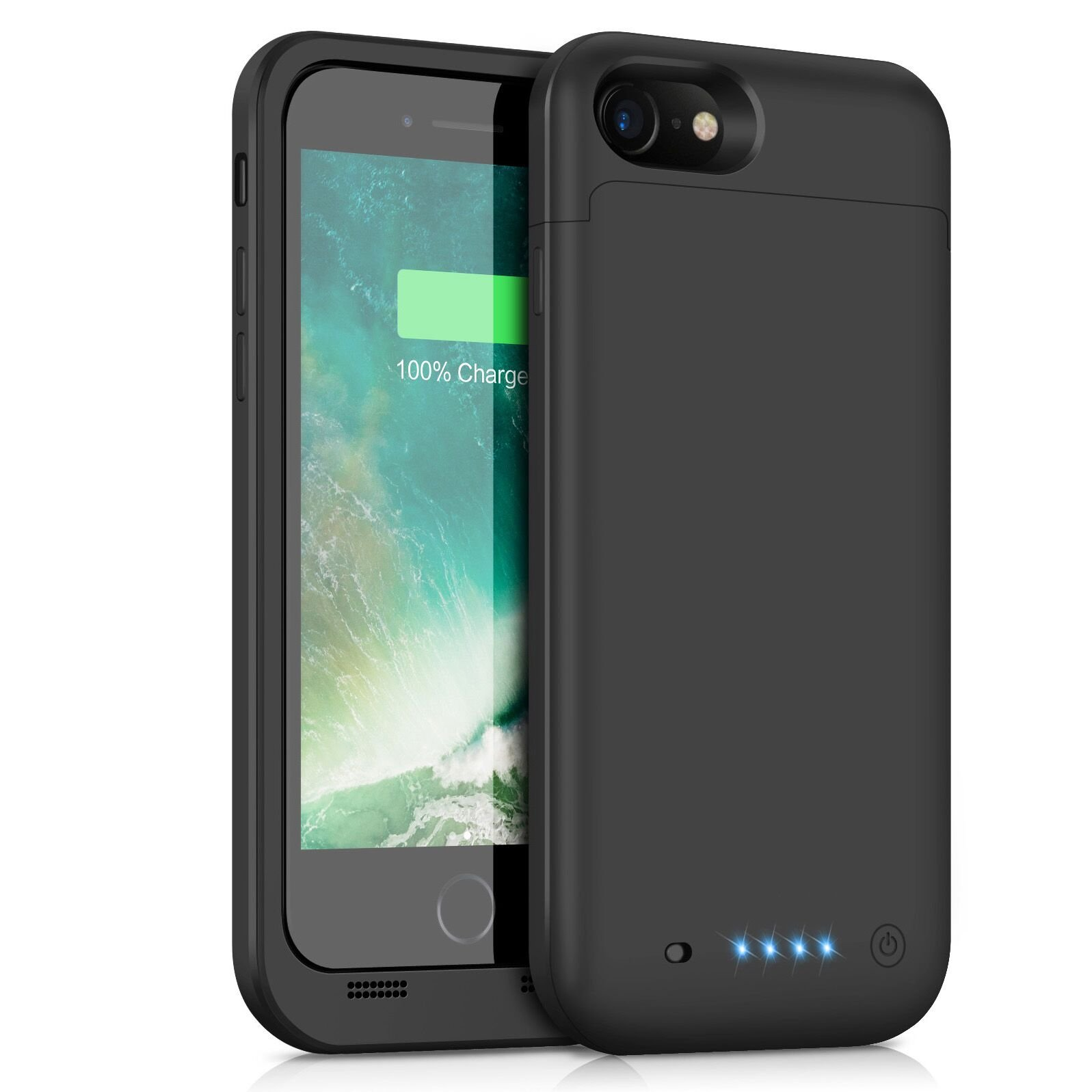 iPhone 8/7 Battery Case [4500mAh] Capacity, Gixvdcu Rechargeable Portable Protective Charger for Apple iPhone 8 & 7 (4.7 Inch) Extended Charging Case Pack Power Bank - Black