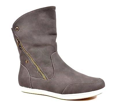 Luxus-Ästhetik bieten Rabatte kauf verkauf King Of Shoes Damen Stiefeletten Stiefel Flache Schlupf ...