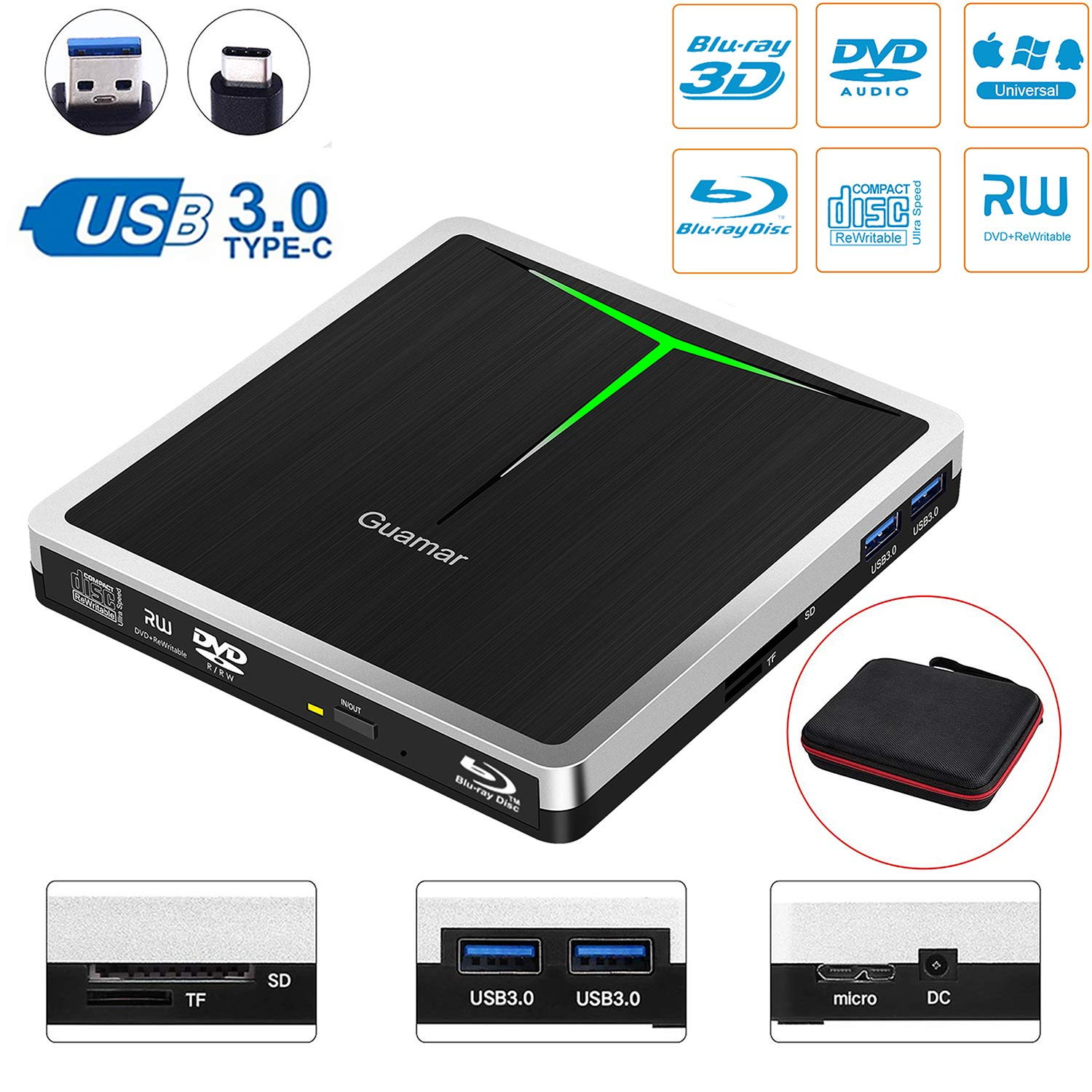 5 in 1 External Blu Ray Drive,USB 3.0/USB C Blue-Ray CD/DVD Burner/Writer for Laptop/Micbook/Windows 10/PC, SD Card/TF Card/2 USB 3.0 Transfers and Charging Supported by Guamar