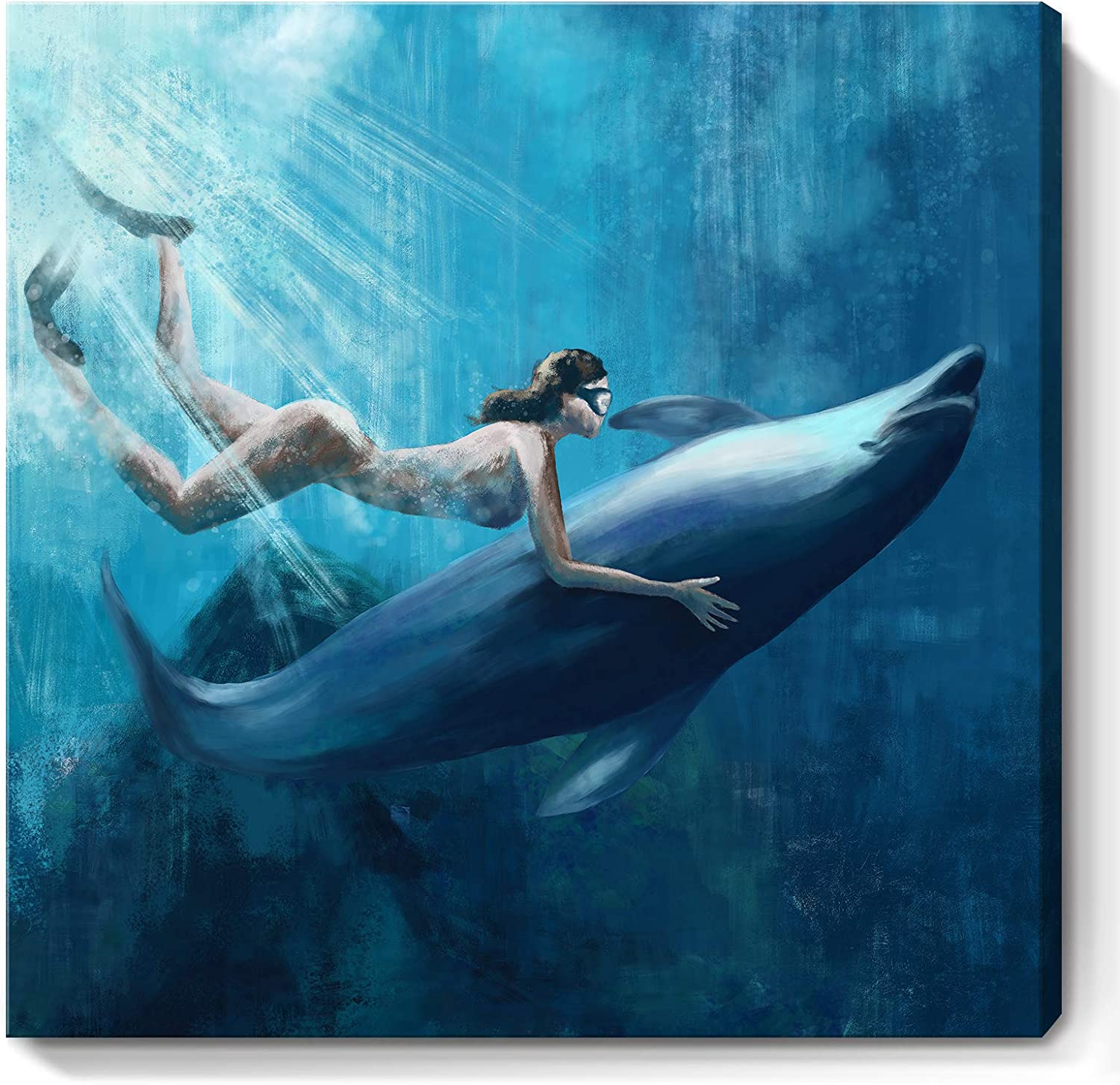 Blue Ocean Wall Art for Bathroom Decor Sea Artwork Coastal Themed Dolphins Human and Nature Underwater Picture Diving Canvas Prints for Bedroom 14X14inch