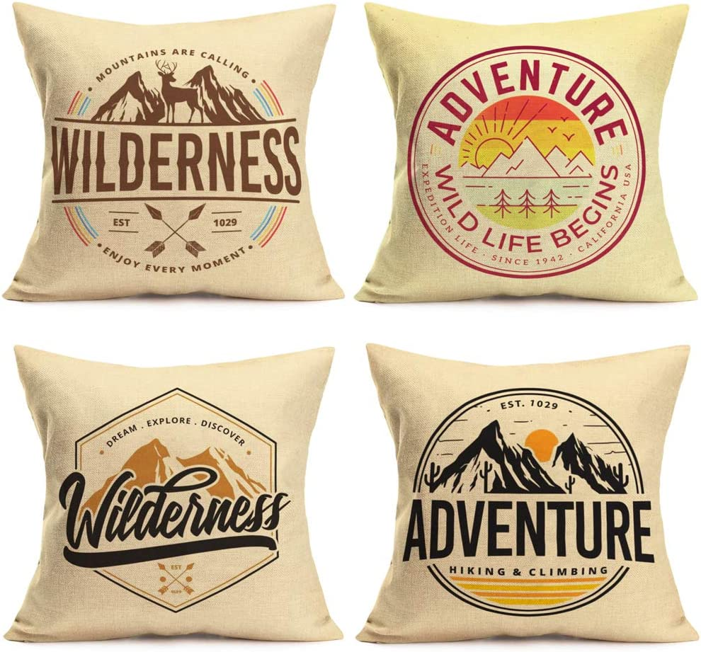Fukeen Set of 4 Camping Mountain Pillow Cover EST 1029 Wilderness Adventure Tree Sun Decorative Pillows Cushion Covers Letters ArrowDecor for Home Dream Travel Pillow Cases Cotton Linen 18x18 Inches