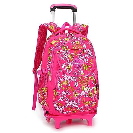 GudeHome Mochila con trolley Mochila con Ruedas y Asa Telescópica Niños de Mochilas escolares rosa
