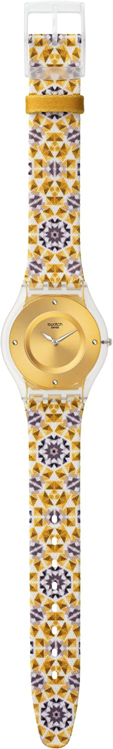Swatch Skin Seminato Gold Dial Leather Strap Ladies Watch SFW107