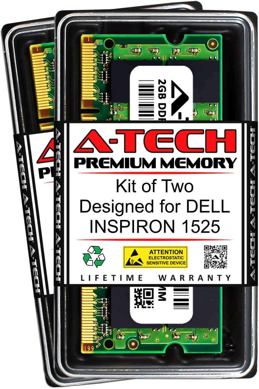 A-Tech 4GB (2 x 2GB) RAM for DELL INSPIRON 1525 | DDR2 667MHz SODIMM PC2-5300 200-Pin Non-ECC Memory Upgrade Kit