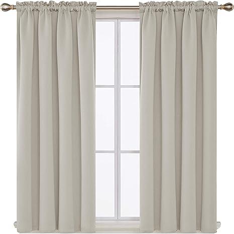 Deconovo Blackout Curtains Rod Pocket Curtains Room Darkening Curtains for Small Windows 42W x 45L Inch Black 2 Panels