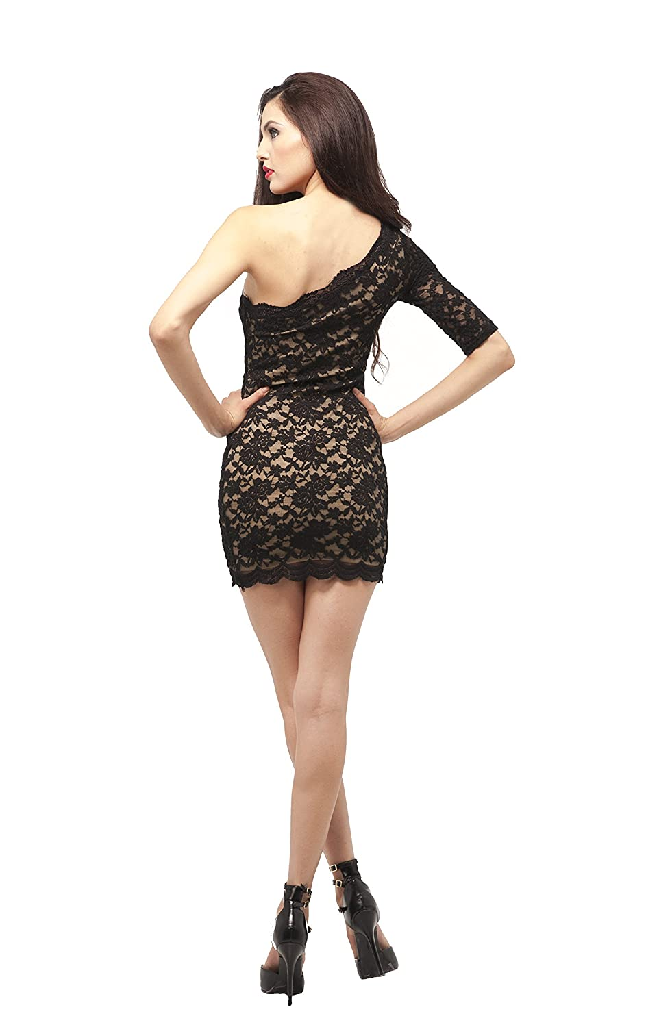 Little Black Cocktail Stretch Mini Lace Overlay One Sleeve Dress