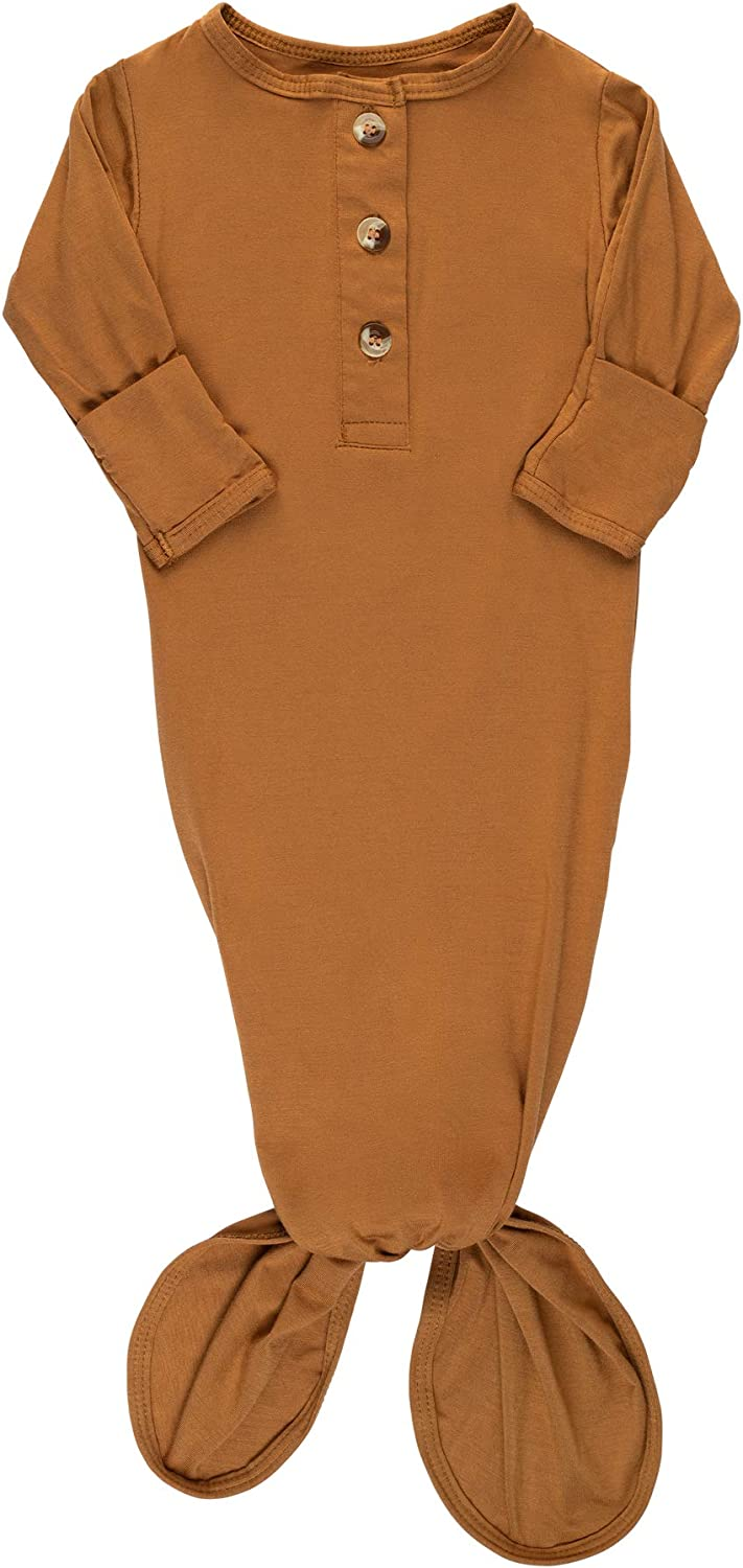 ELIVIA & CO. Knotted Gown Newborn Baby Gowns Baby Boy Clothes or Girl - Baby items Newborn Onesies Baby Sleeper (Copper): Clothing