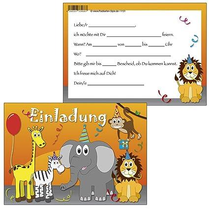 Tarjetas De Invitación Safari Kunterbunte Animales
