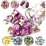 DAODER 100pcs Big Rhinestones for Nails Sparkly 3D Nail Jewels Rhinestones Crystal Gems Stone Sharp Back Rhinestones and Charms Laser Assorted Color Nail Decoration for DIY Crafts