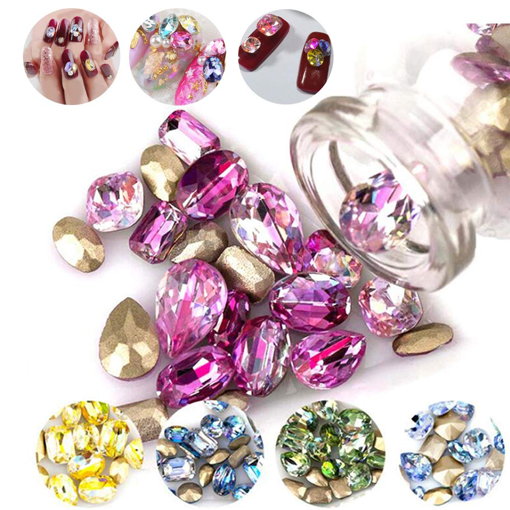 DAODER 100pcs Big Rhinestones for Nails Sparkly 3D Nail Jewels Rhinestones Crystal Gems Stone Sharp Back Rhinestones and Charms Laser Assorted Color Nail Decoration for DIY Crafts by DAODER