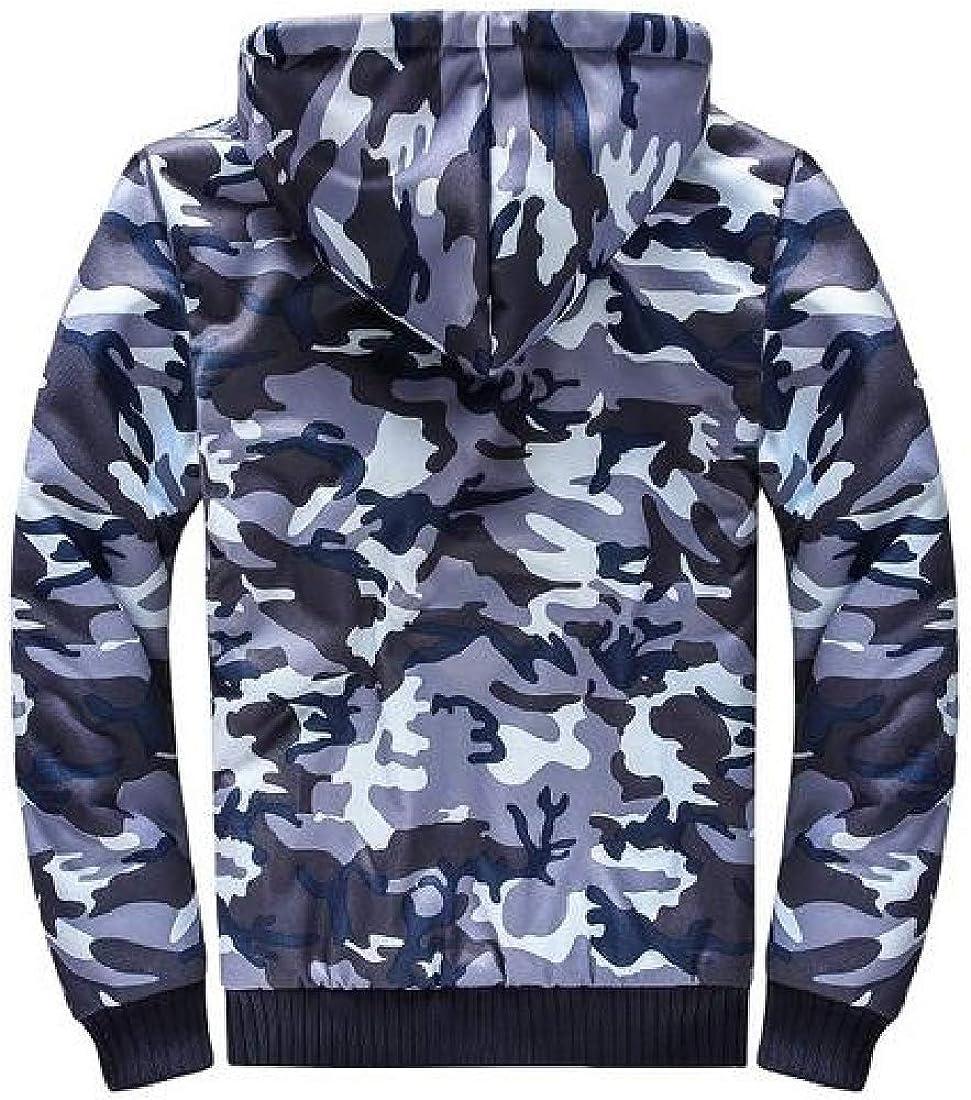 Fubotevic Mens Camouflage Fleece Lined Hooded Hoodies Winter Sweatshirt Jacket Coat