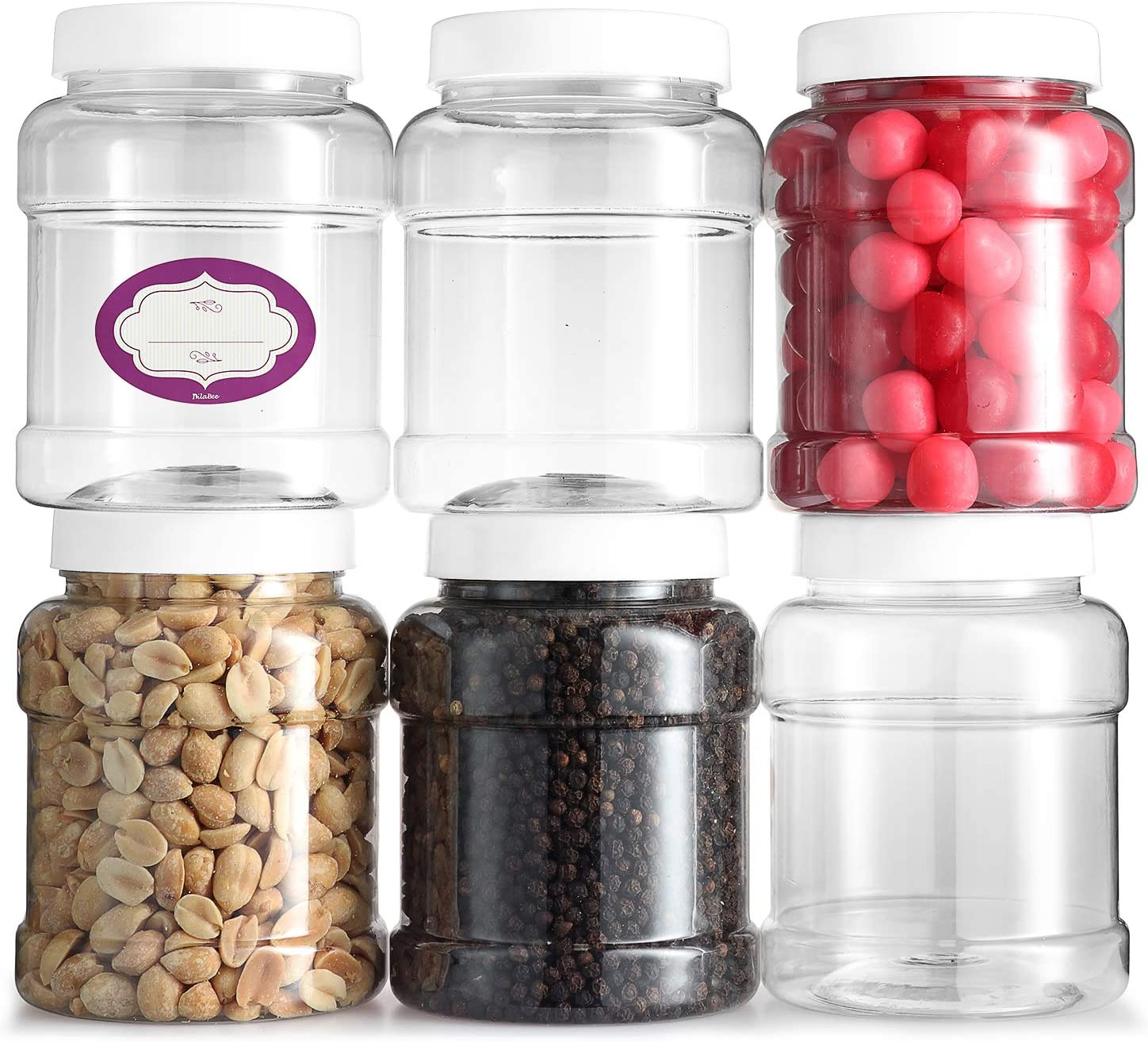 DilaBee Glass Storage Jars - Clear Glass Jars with Airtight Lids - Square Glass Jars for Food Storage with Lids and Chalk Labels- airtight glass Kitchen Jars for Canning, Fermenting, (2 Pack 128 Oz)