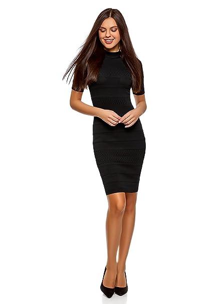 oodji Collection Mujer Vestido Ajustado con Cuello Mao, Negro, ES 36 / XS