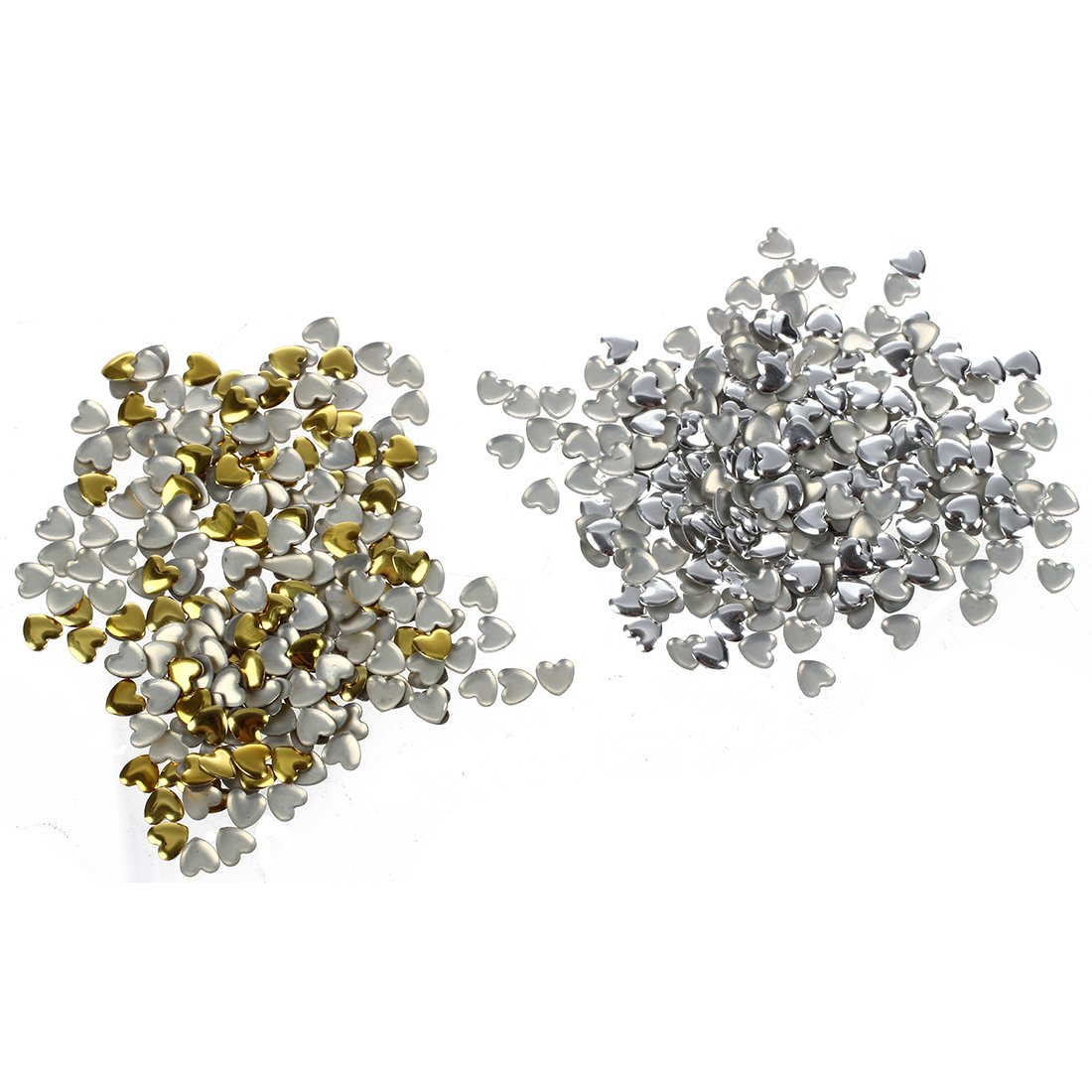SODIAL(R) Nail Art 250 Pieces Gold & Silver 5mm HEART Metal Studs for Nails, Cellphones 013074