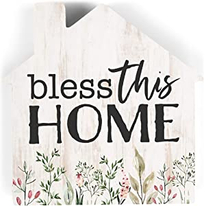 P. Graham Dunn Bless This Home House Floral Cream 3.25 x 3.25 Pine Wood Small Tabletop Plaque