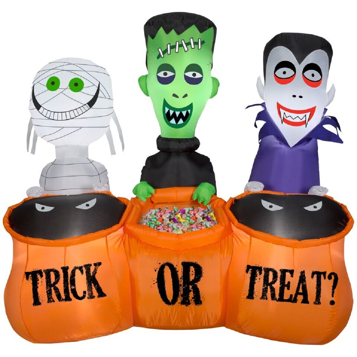 Gemmy Trick or Treaters Mummy, Frankenstein, and Vampire Trio Scene - Lighted Halloween Yard Decoration, 5-foot Wide and Over 4.5-foot Tall