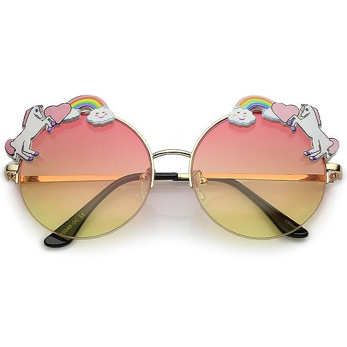 Amazon.com: sunglassla – Unicorn arco iris Semi Rimless ...