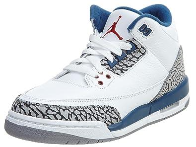 the latest 8125b 341a8 Nike Kid s Air Jordan 3 Retro GS, DARK POWDER BLUE WHITE-BLACK-