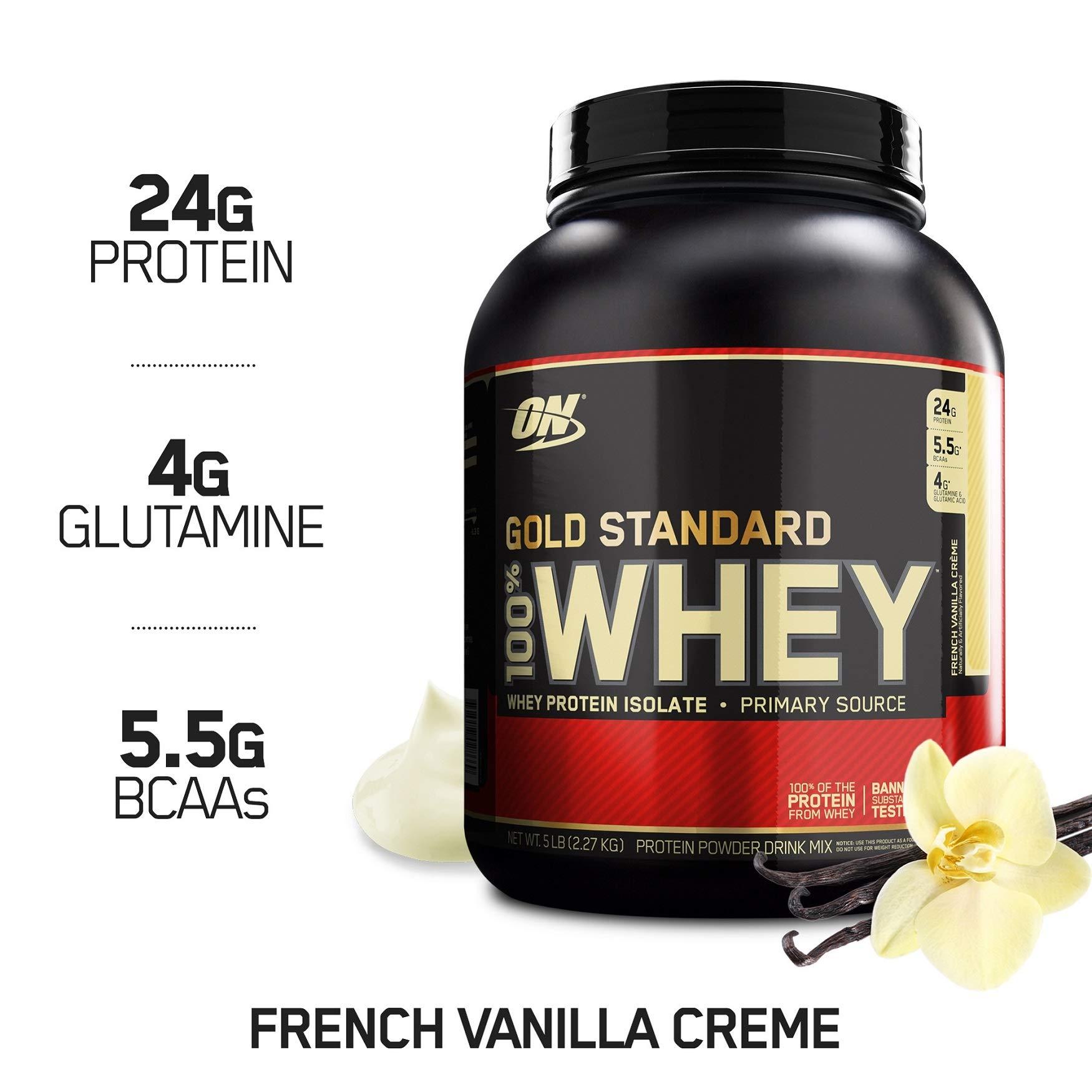 OPTIMUM NUTRITION GOLD STANDARD 100% Whey Protein Powder, French Vanilla Creme, 5 Pound by Optimum Nutrition