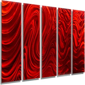 "Statements2000 Huge Abstract Red Metal Wall Art Sculpture - Multi Panel Modern Contemporary Wall Décor by Jon Allen - Red Hypnotic Sands - 64"" x 48"""