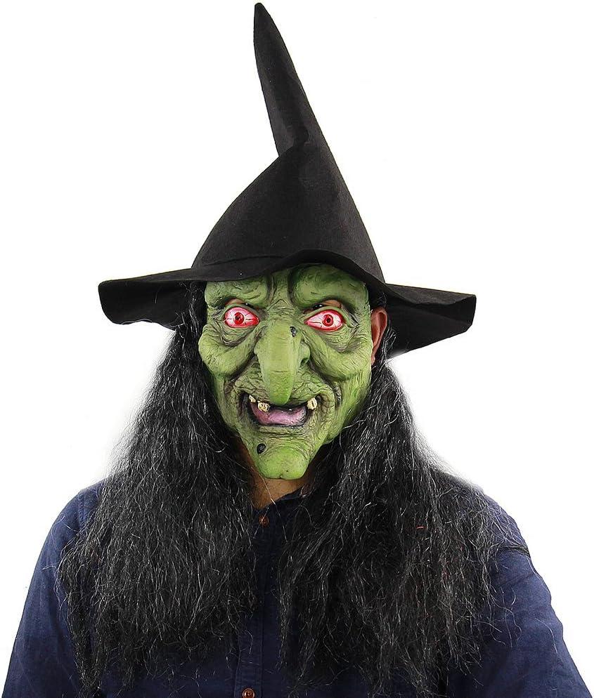 Decdeal Máscara de Bruja Verde, Látex Máscara de Miedo de Cabeza ...