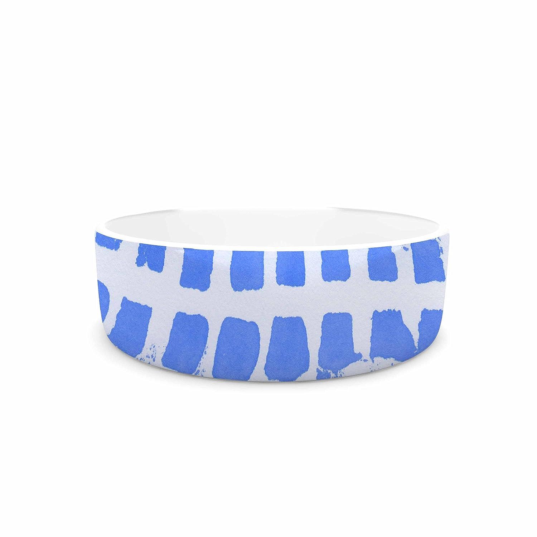 KESS InHouse Vasare NAR Azure bluee Squares bluee White Illustration Pet Bowl, 4.75  Diameter