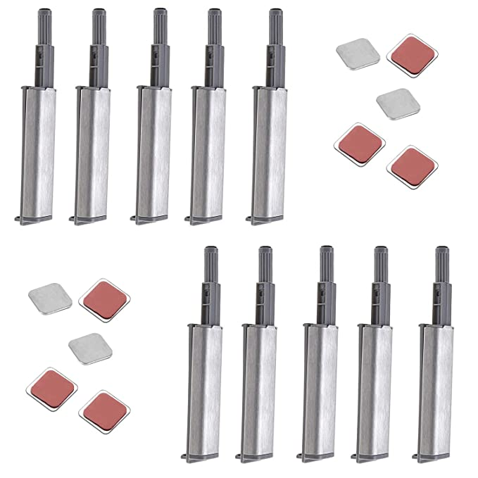 Rannb Stainless Steel Push to Open System Damper Buffer with Magnetic Tip for Cabinet Door Drawer Catch Latch -Pack of 10