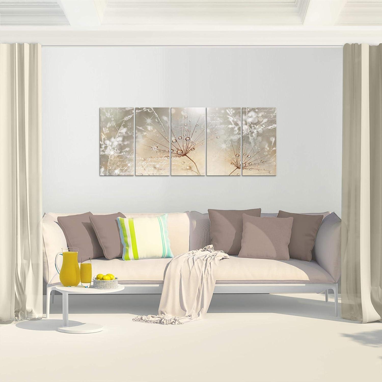 MADE IN GERMANY Leinwand Bild XXL Format Wandbilder Wohnzimmer Wohnung Deko Kunstdrucke Rosa Grau 1 Teilig Fertig zum Aufh/ängen 205512b Bilder Blumen Pusteblume Wandbild Vlies