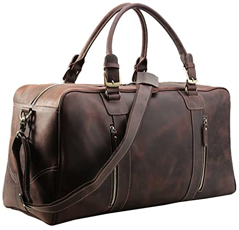 Polare Mens Vintage Leather Duffel Overnight Travel Duffle Weekender Bag  (X-Large 23.2  )  Amazon.ca  Luggage   Bags ed58dd9c86075