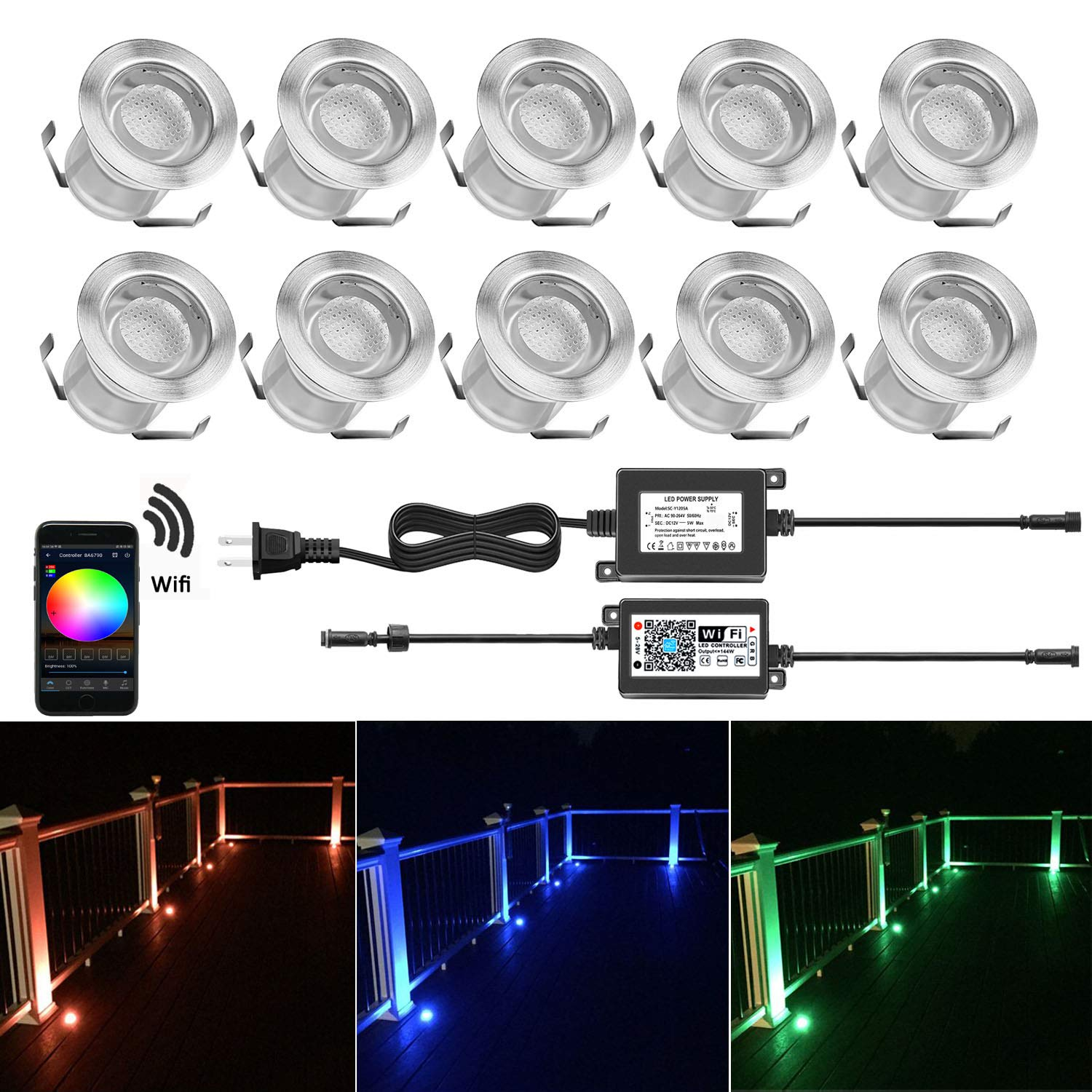 QACA WIFI Controlled LED Deck Lights Multi Color Outdoor IP67 Waterproof Φ1.18''Low Voltage Step Lights In-Ground Lights, Smart Phone APP Controlled, Compatible with Alexa Echo and Google Home, 10 Pack
