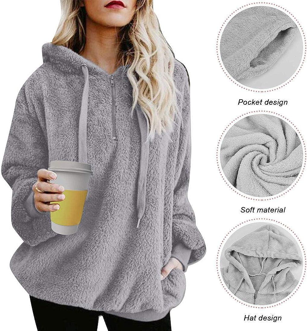 Women Hoodies Sweatshirt Teddy Bear Hooded Zipper Drawstring Pullover Fuzzy Oversize Jumpers Warm Long Sleeve Outerwear Light Grey