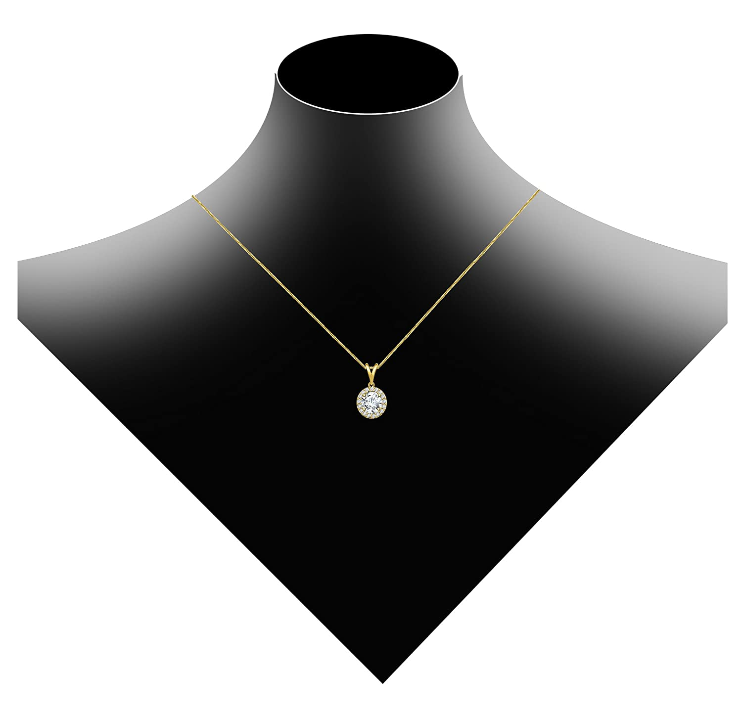 DiscountHouse4you 1.13 ct Round Cubic Zirconia Halo Round Circle Solitaire Pendant Necklace in 14k Yellow Gold Plated Gift for Womens Girls