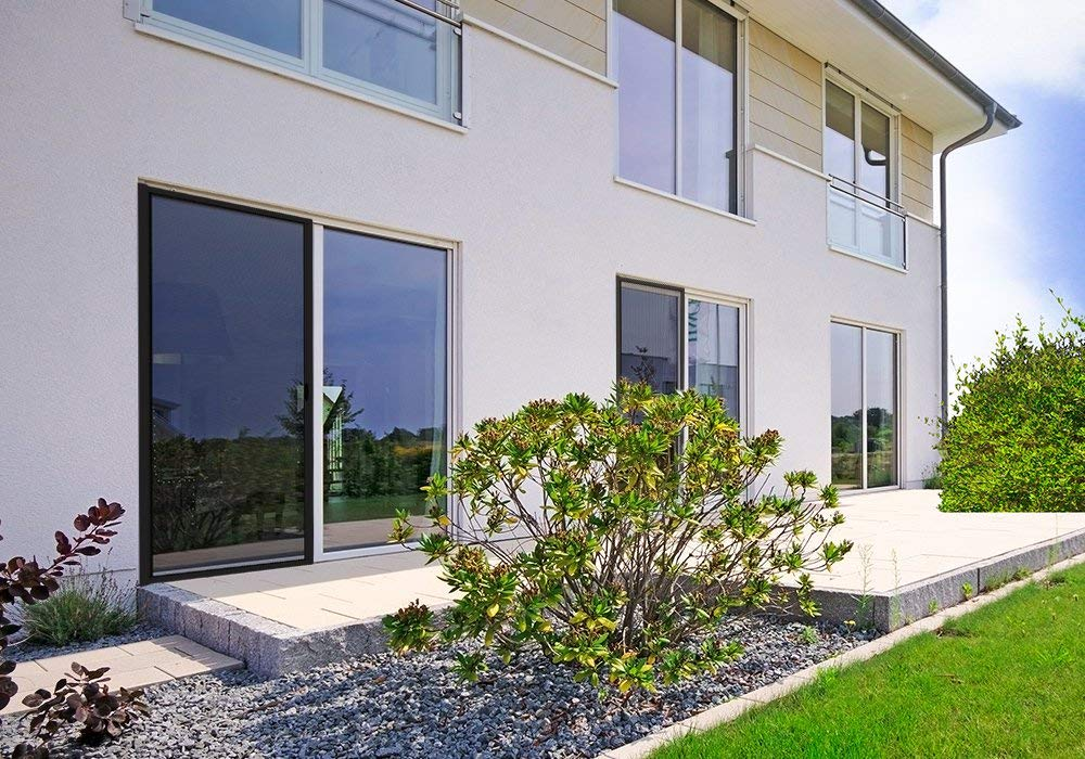 larg x H cadre en aluminium: 125 x 220 cm jarolift 3 in 1 Zanzara Store moustiquaire de porte coulissant Moustiquaire coulissante pour portes Argent