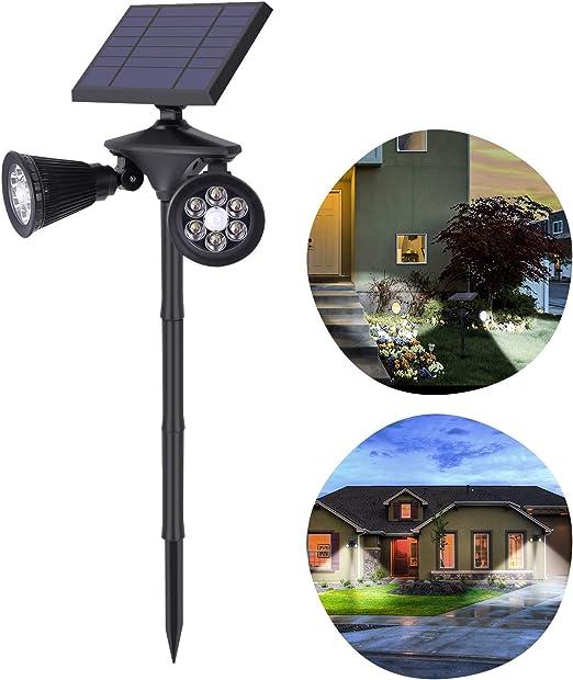 OUSFOT – Lámpara solar para jardín, lámpara solar para exterior con detector de movimiento, 4500 mAh, ajustable, foco solar doble resistente al agua: Amazon.es: Iluminación