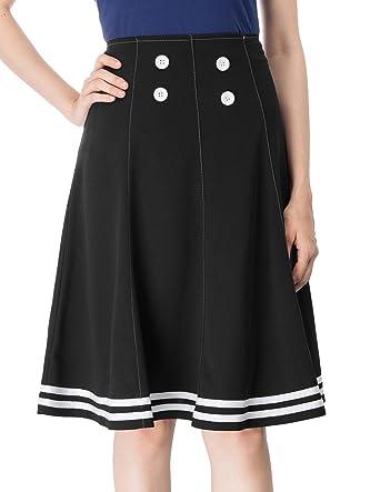 e05078c4b9 Belle Poque High Waist A Line Flare Button Skirts Black S, Black(BP626)