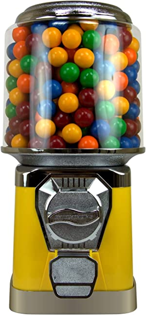 Gumball Machine for Kids - Yellow Vending Machine with Cylinder Bank - Candy Dispenser - Bubble Gum Machine for Kids - Home Vending Machine - Bubblegum Machine - Gum Ball Machine Without Stand