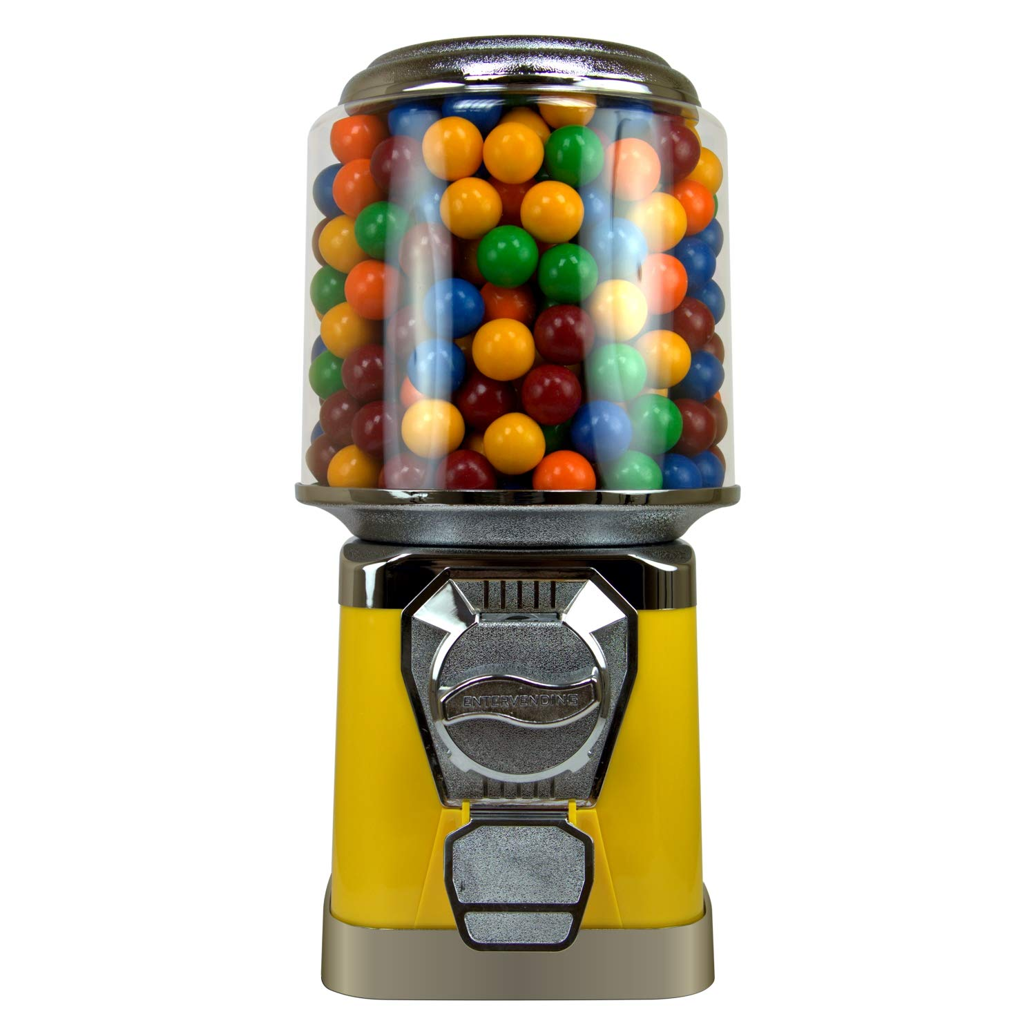 Gumball Machine for Kids - Yellow Vending Machine with Cylinder Globe - Bubble Gum Machine for Kids - Home Vending Machine - Coin Gumball Machine - Bubblegum Machine - Gum Ball Machine Without Stand