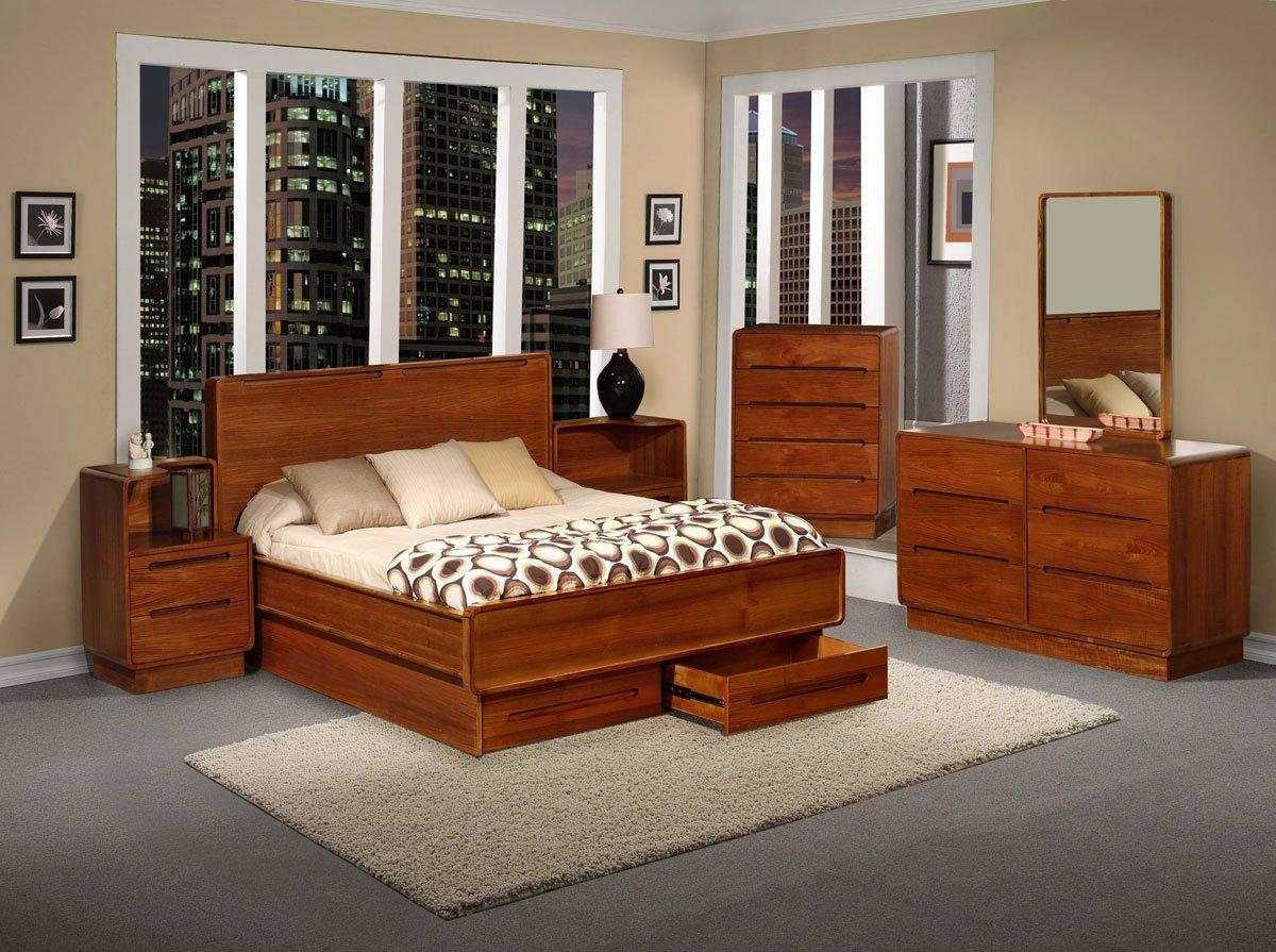 Amazon com  Metro Teak Wood Bedroom Furniture 6PC Set California King Kitchen Dining