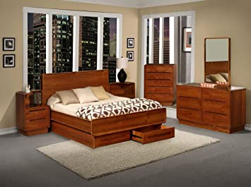 Amazon.com: Metro Teak Wood Bedroom Furniture 6PC Set (California ...