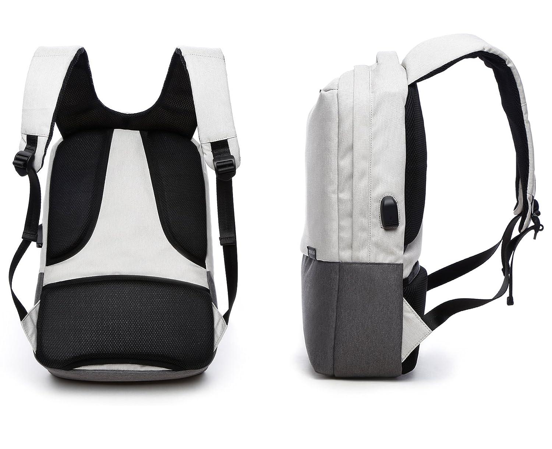 Valleycomfy - Mochila para portátil (hasta 15.6 pulgadas) unisex. Bolsa de lona con interfaz de carga USB para ocio/negocio/viajes. gris gris: Amazon.es: ...