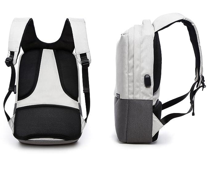 Valleycomfy - Mochila para portátil (hasta 15.6 pulgadas) unisex. Bolsa de lona con interfaz de carga USB para ocio/negocio/viajes. beige Beige gray: ...