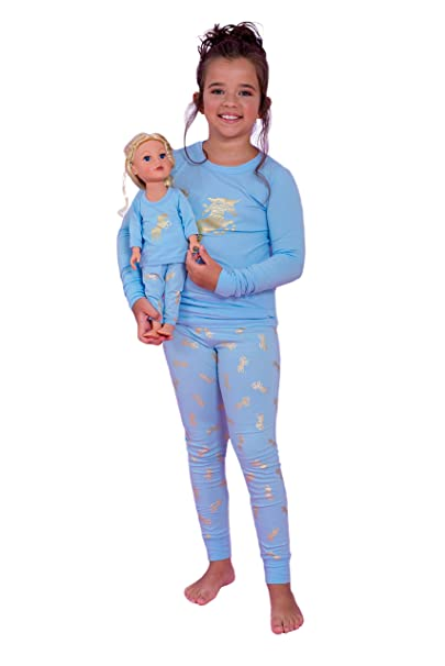 revendeur 8cce4 85b16 Girls Pyjama by Lilli&Me | Girls and Dolls Matching Unicorn 4 Piece Pyjama  Sets