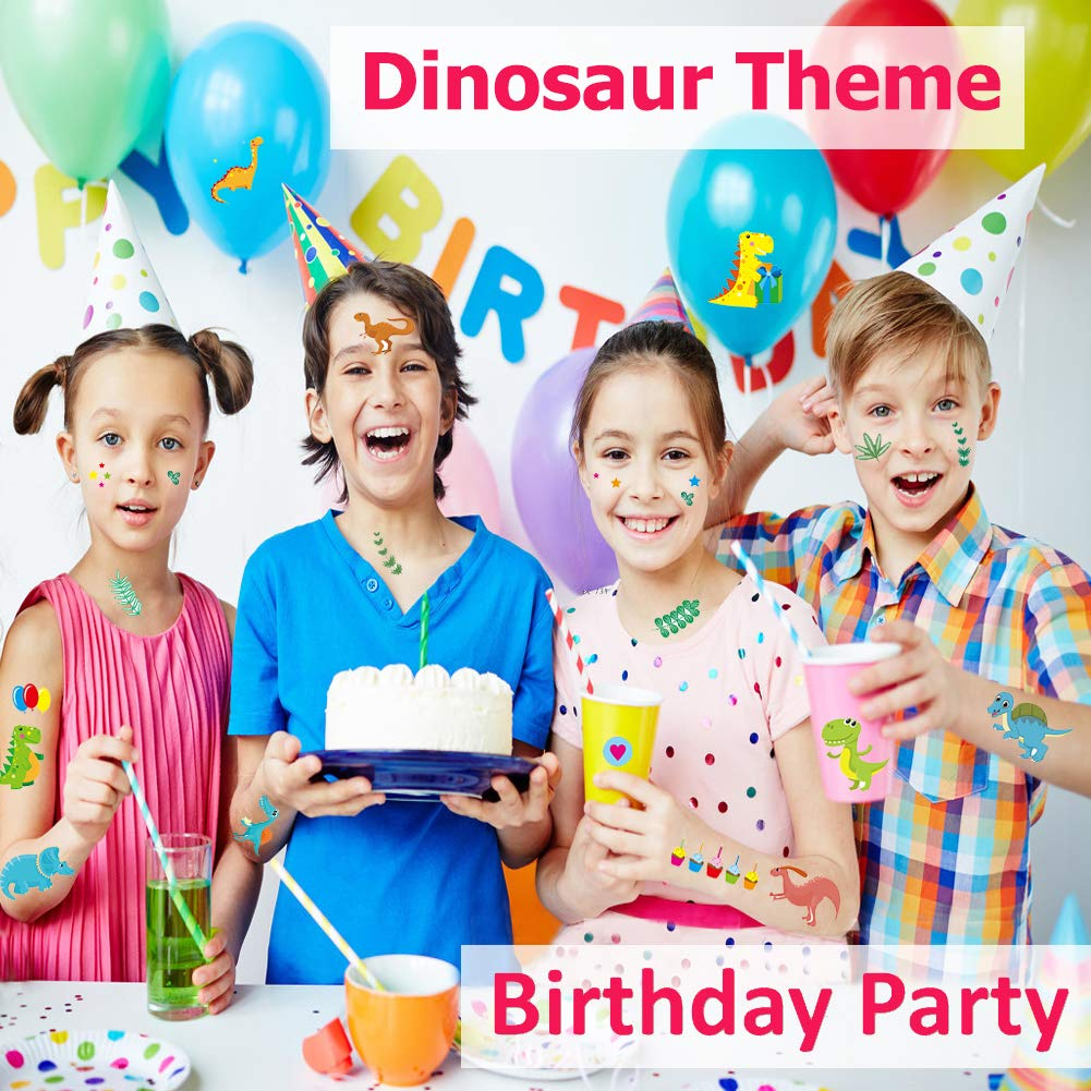 Vindyeer Dinosaur Temporary Tattoos for Kids Boys Birthday Party, 300 Tattoos (Pack of 24 Sheets) Waterproof Dinosaur Tattoo Stickers, Dinosaur Party Supplies Great Children Party Favors