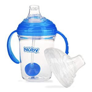 Nuby No Spill 360 Weighted Straw Grip N' Sip Tritan Cup with Hygienic Cover, 8 Oz, Trainer Cup