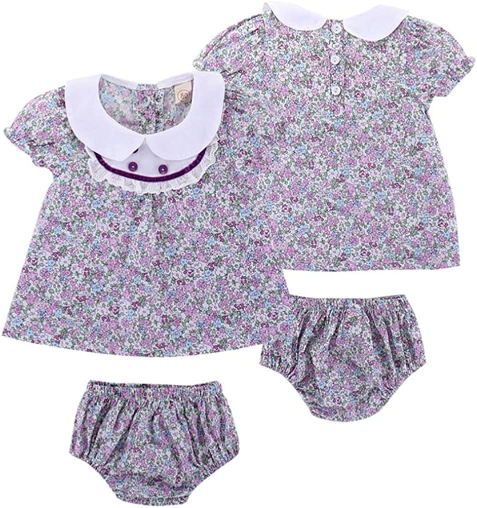Moonker 2Pcs Newborn Infant Baby Girls Summer Clothes Set Lace Floral Tops Blouse and Shorts Briefs Outfit 0-2T