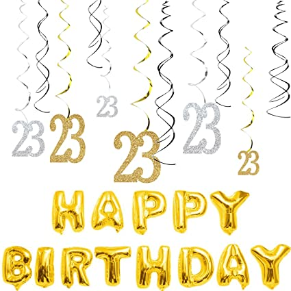 Amazon MAGJUCHE 23th Birthday Decorations Kit Gold Silver