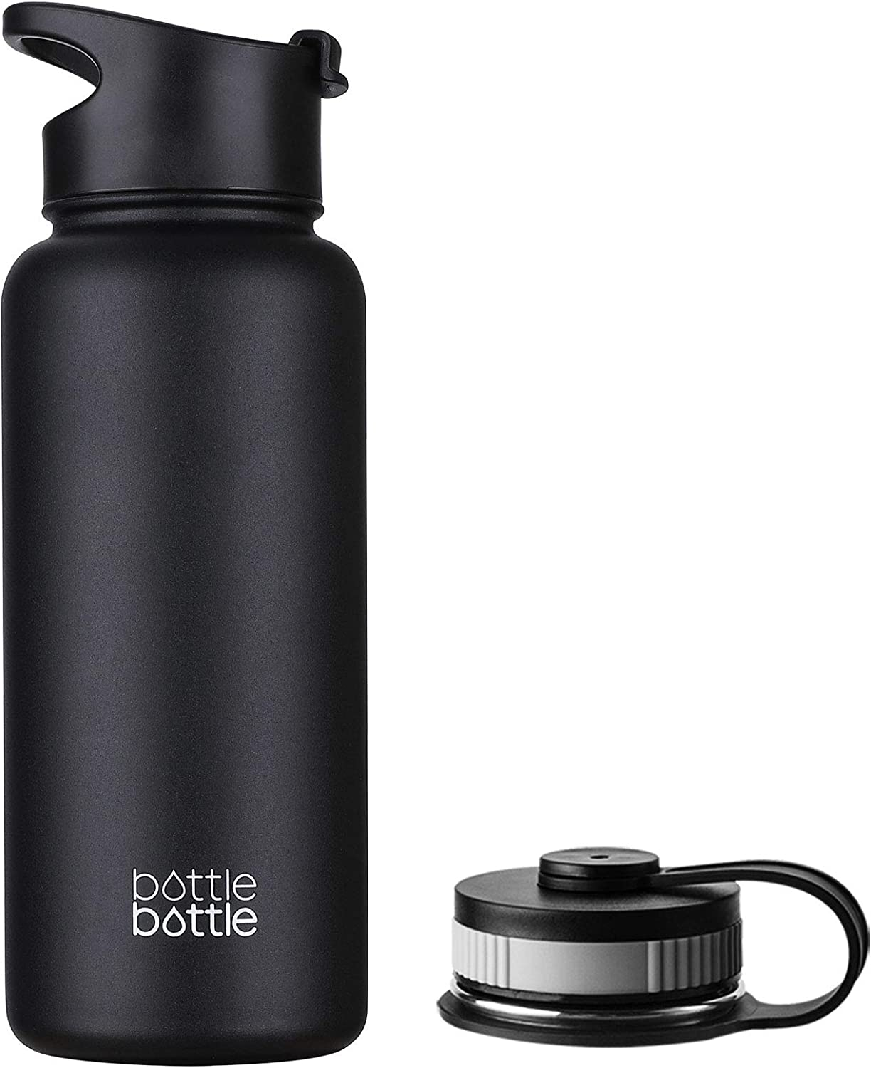 Bottlebottle 32 Oz Insulated Stainless Steel Water Bottle With Bonus Lid Double Wall Vacuum Sealed Flask Wide Mouth Bpa Free Cold 24 Hrs Hot 12 Hrs Night Black Amazon Ca Home Kitchen
