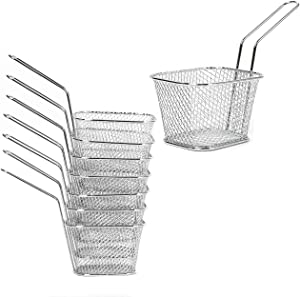 Eyourlife Set of 8 Mini Chrome Chip Frying Fry Serving Baskets Fried baskets Ideal for Chips, Fries, Shrimps, Wedges